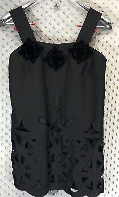 Karta Tank Top Blouse Black Thick Straps Embellished Cut Out Pattern Size XS