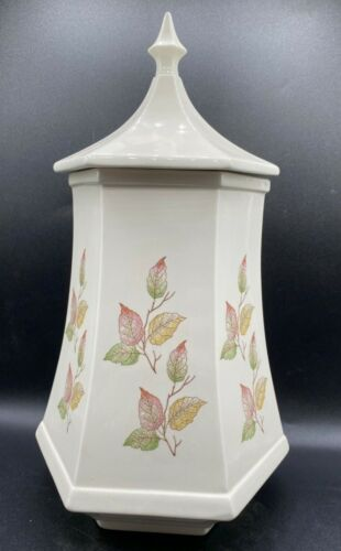 """Vintage Hexagon Shape Lidded Urn with Leaves Fall Colors Ceramic 15"""" x 8 1/2"""""""