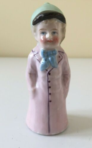 Antique Kate Greenaway Girl Salt Pepper Shaker Figurine Pink Coat Hat Porcelain