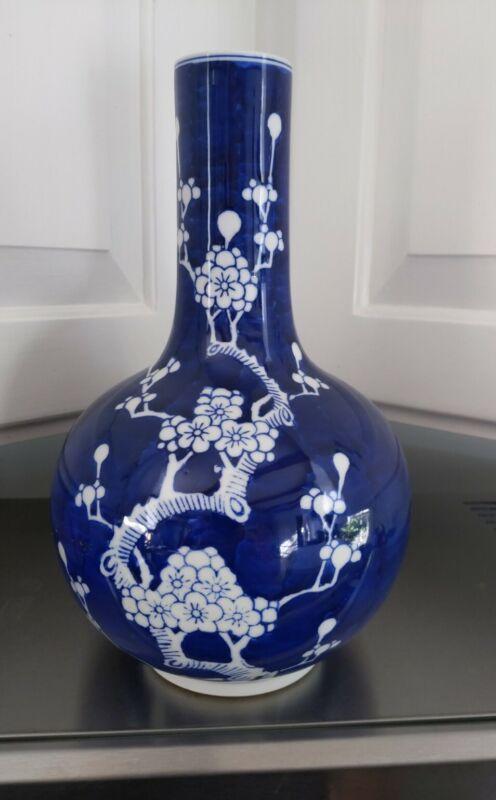 CHINESE JINGDEZHEN KILN PRUNUS BLUE GLAZE VASE