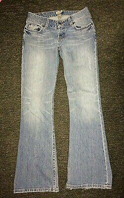 Distressed Denim Bootcut Jeans (*BKE DENIM*DISTRESSED LIGHT BLUE JEANS,LOW-RISE,BOOTCUT,STRETCH,28 x 30)