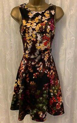 Karen Millen Floral Blossom Fit Flare Skater Ascot Cocktail Party Dress 6 to 16
