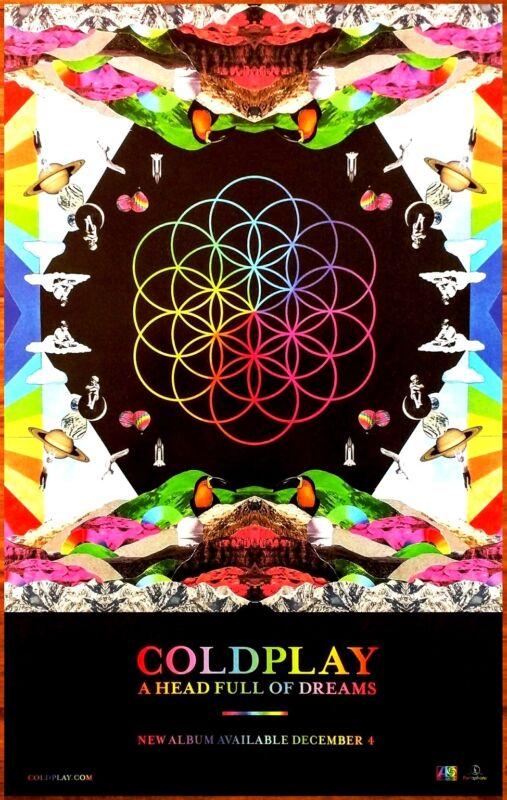 COLDPLAY A Head Full Of Dreams Ltd Ed RARE Litho Tour Poster +BONUS Rock Poster!