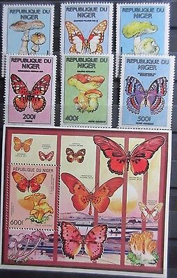 Niger 1991 Butterflies & Fungi Set & Mini Sheet. MNH.