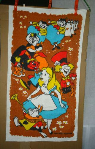 VTG printed ALICE in WONDERLAND  TERRY TOWEL NOS unused COTTON  24x42 CANADA