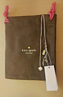 Kate Spade New York Signature Spade Gold & White Pendant Necklace BNWT & Bag