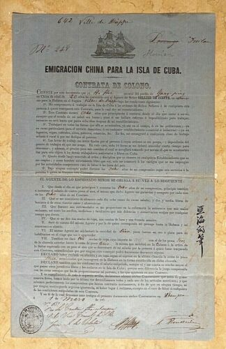 ORIGINAL - (SLAVERY AND ABOLITION) CUBA , CHINESE COOLIE LABOR CONTRACT c1859