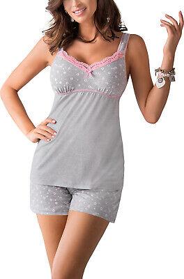 Nachtwäsche Pyjama Top (Damen Nachtwäsche Viskose kurzer Pyjama kurzer Shorty Schlafanzug Top mit )