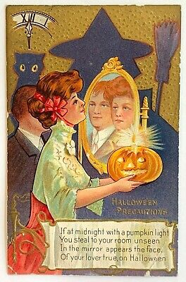 Halloween Postcard Woman Lover's Face Mirror Clock Shadow of Witch Cat 1909](Halloween Witchs)