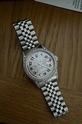 Vintage Rolex DateJust Model 1601 Stainless Steel Jubilee Bracelet Diamond Set