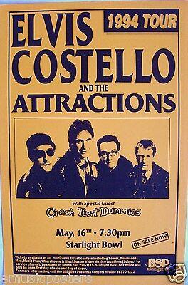 ELVIS COSTELLO & ATTRACTIONS / CRASH TEST DUMMIES 1994 SAN DIEGO CONCERT POSTER