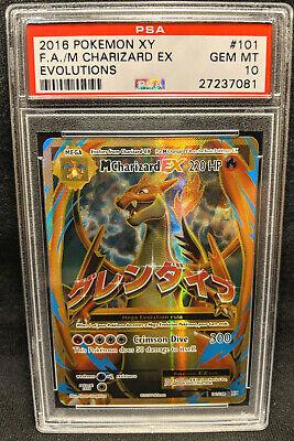2016 Pokemon XY Evolutions 101 Full Art Mega M Charizard EX Holo PSA 10 Gem Mint