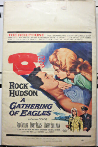 """A GATHERING OF EAGLES Window Card 14""""x22"""" Good Condition 1963 film Rock Hudson"""