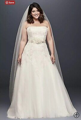 NWT David's Bridal Appliqued Tulle A-Line Plus Size Wedding Dress 16W A-line Plus Size Wedding Dress