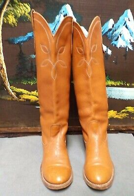 """Acme Cowboy Western Tall Boho Boots Womens Round Toe Size 6M """"Made In USA"""""""
