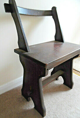 Vintage Solid English dark oak Chapel Chair School Church hall - collect LN11