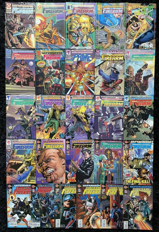 Firearm #0, 1-18 + Codename #0, 1-5 COMPLETE SERIES SET Malibu Ultraverse Comics