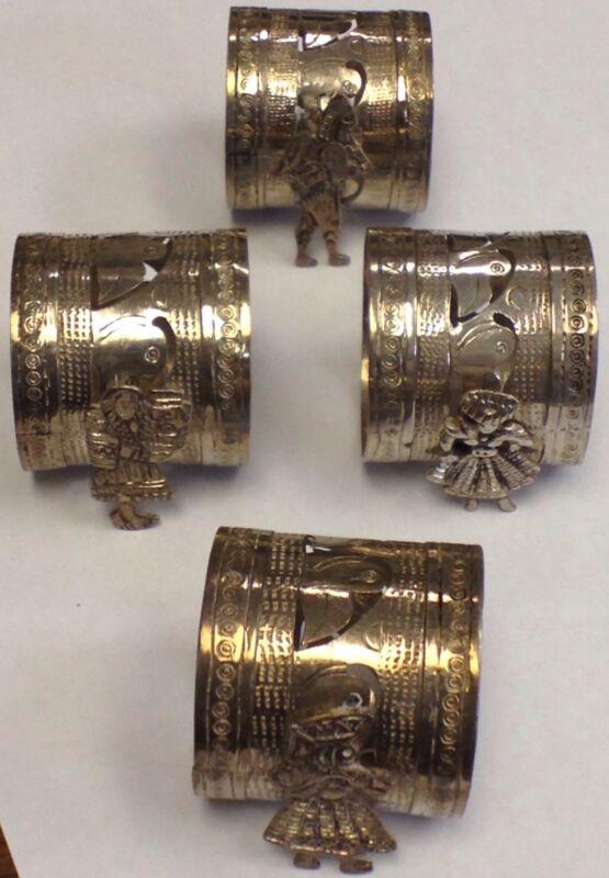Antique Sterling Silver Napkin Ring Holder Ladies Men Bird Unique Design .925