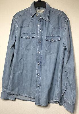 MAISON KITSUNÉ Western Style Shirt Blue Denim Men's Size XS