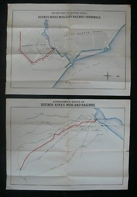 Argentina c.1908 Buenos Ayres Midland Railway A Pair of Maps During Construction