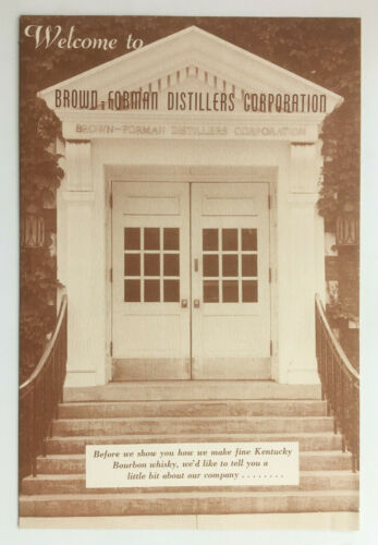 Vtg Brown-Forman Distillers Corp Kentucky Bourbon Whisky Company History Leaflet