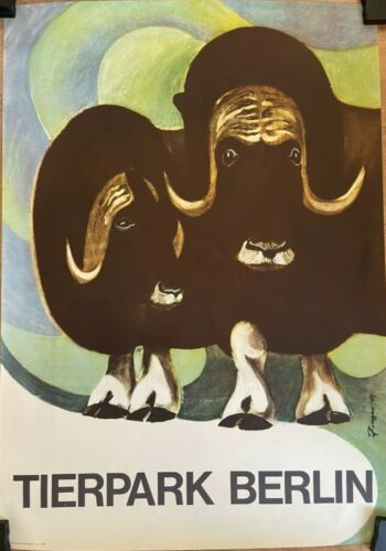 Original Vintage Poster Muskox - Musk Ox poster - Zoo Tierpark Berlin  (1969)
