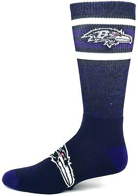 Baltimore Ravens Football RMC Four Stripe Crew Socks Purple and Black