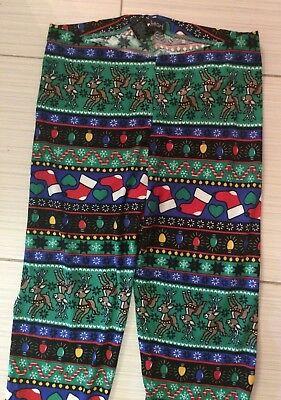 Derek Heart Ugly Sweater Reindeer Fair Isle Christmas 🎄 Leggings sz L 🎅