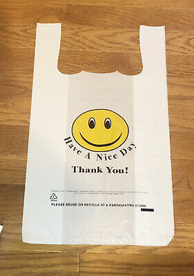 Smile Face T-shirt Bags White Plastic Shopping Bag Grocery Retail Carry Out Bag