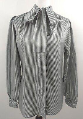 Vtg Pussy Bow Blouse Secretary Silky Gray Stripe Tie 70s 80s sz 10 12 Ascot M
