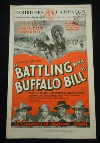 BATTLING WITH BUFFALO BILL 1931 orig Serial Pressbook Yakima Canutt Jim Thorpe