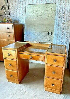 Antique Vintage 1950s light oak dressing table with mirror and drawer storage