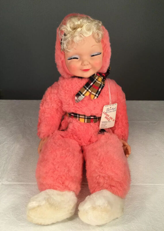 """🔴 Vintage Cindy Snow Rubber Face Pink Plush Doll 1958 Timely Toys 27"""" RARE"""