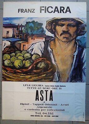 1980ca - POSTER ASTA A SANREMO - FRANZ FICARA - I.F.I.R. LIGURIA (MAN)