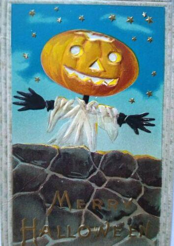 Vintage Halloween Postcard Goblin By Brick Wall Barton & Spooner Embossed 34A
