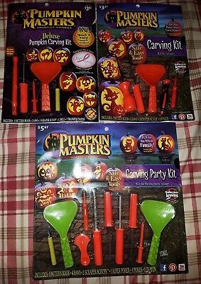 Halloween lot 15 pumpkin carving kits scoop saw scraper stencil pattern book