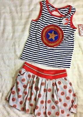 Captain America 2 Outfit (Girls 2 Piece Outfit XL 14-16 Marvel Captain America Sequin Shirt Skirt)