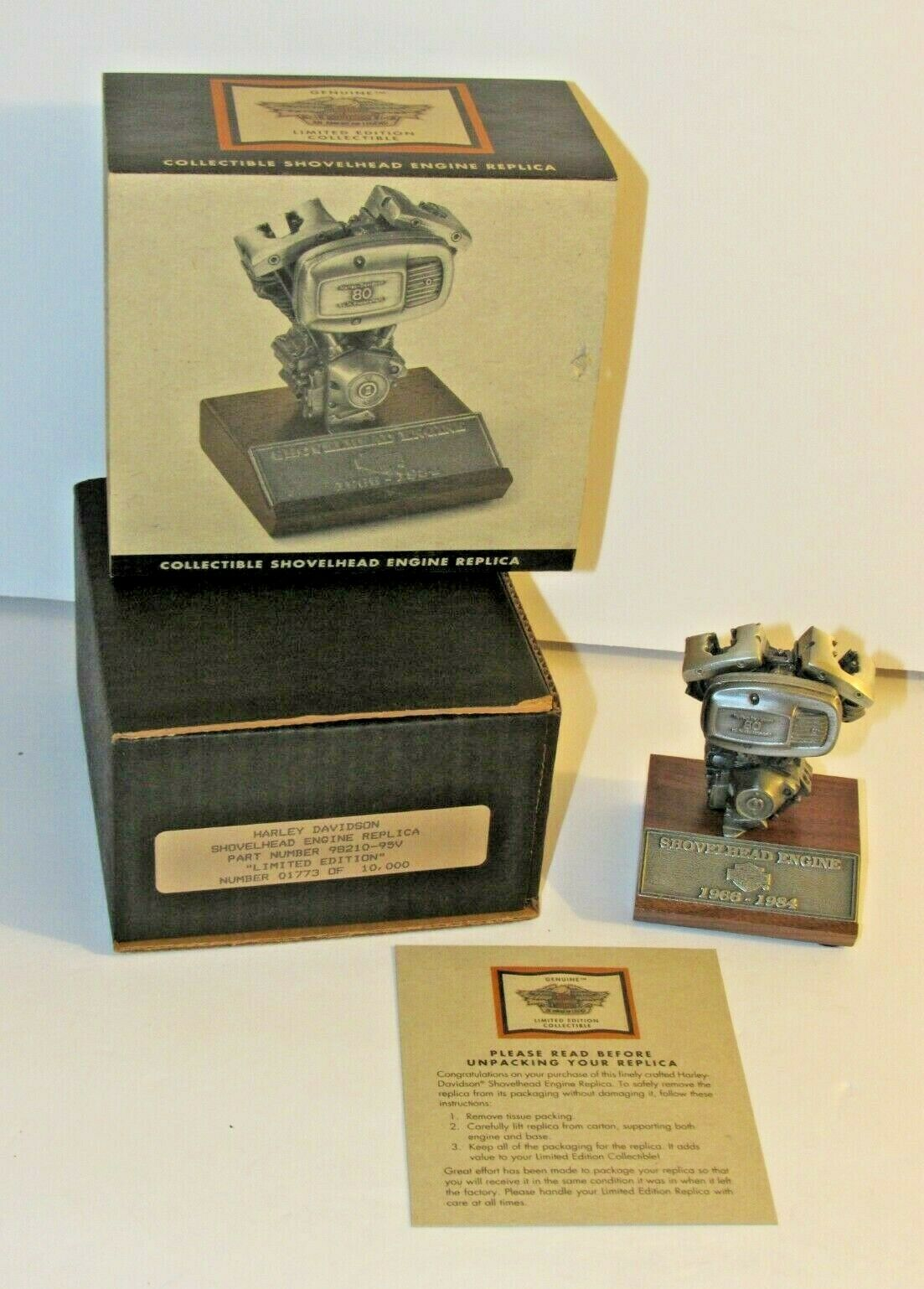 Vintage Harley Davidson Limited Edition Shovelhead Replica Engine 1773/10000 - $110.95