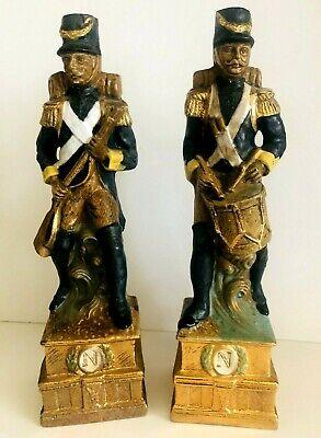 Vintage Set Of 2 Italian Wine Ceramic Soldier Decanters 13