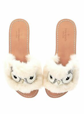 Kate Spade Ingrid Owl Sliders/slippers shoes size 8 M Off White soft Faux fur