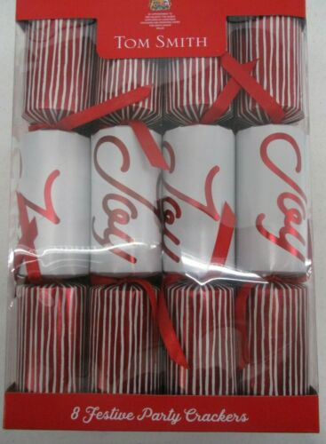 """TOM SMITH FESTIVE HOLIDAY PARTY CHRISTMAS CRACKERS RED & WHITE JOY 8 PACK 12"""""""