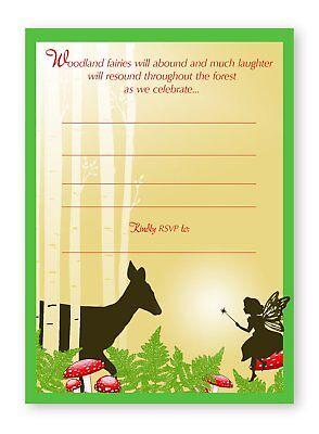 - Woodland Fairy LARGE Invitations - 10 Invitations 10 Envelopes