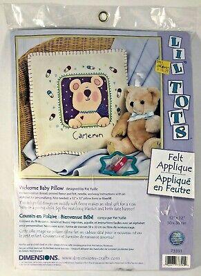"Dimensions Lil Tots Welcome Baby Felt Applique  12"" x 12"" Pillow Kit  #73391"