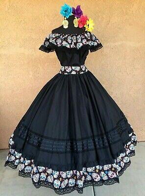 Mexican Dress Day of The Dead,Fiesta,Wedding.Vestido Mexicano De Dia De Muertos