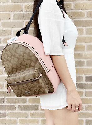 Coach F32200 Medium Charlie Backpack Khaki Signature Petal Pink