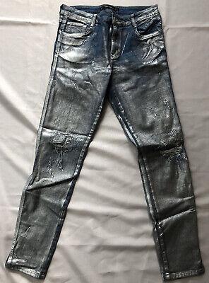 zara trafaluc silver coated distressed Denim Blue Jeans size 6