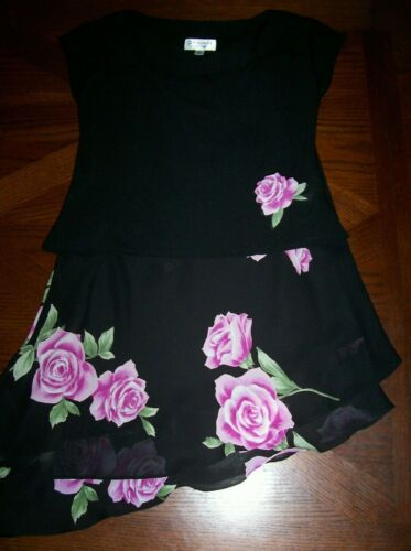 Top and skirt set size 6 black with pink roses petite Studio I New