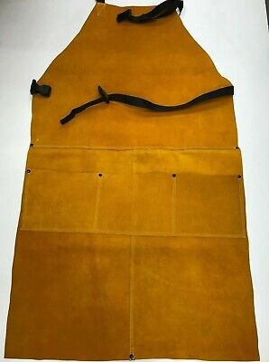 Double Stitched Split Leather Welding Apron With 3 Pockets Tie Down Strap 24x42