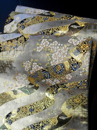 """Japanese Kimono SILK Fukuro OBI, Rokutu ,Gold thread/ foil, Ribbon, L171""""...1673"""