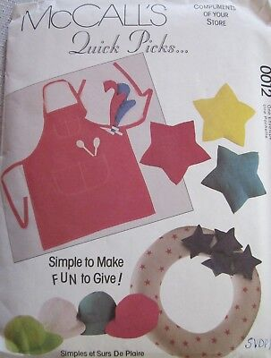 EASY SEWING PATTERN M0012 GREAT GIFTS DOG BED TIES APRON PILLOW SACHET UNCUT